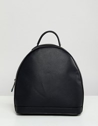 Street Level Black Minimal Zip Backpack Black Tumbled