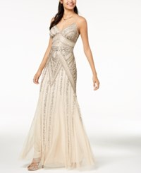 Jump Juniors' Beaded Sequin Embellished Gown Champagne