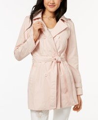 Celebrity Pink Juniors' Hooded Double Breasted Trench Coat Pink Salt