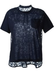 Sacai Lace Panel T Shirt Blue