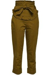Marissa Webb Adelaide Bow Embellished Cotton Blend Slim Leg Pants Army Green