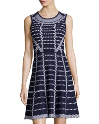 Neiman Marcus Polka Dot Print Sleeveless Fit And Flare Knit Dress Navy White