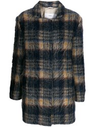 Closed Plaid Single Breasted Coat Blue