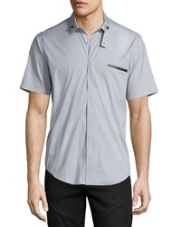 Bon Vivan Short Sleeve Leather Trim Sport Shirt Gray Men's