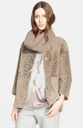 Fabiana Filippi Genuine Shearling And Flannel Jacket With Removable Rib Knit Collar Honey