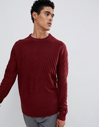D Struct Cable Knit Jumper Port Marl Red