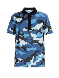 Valentino Camouflage Print Cotton Polo Shirt Blue
