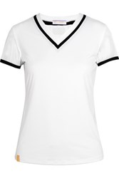 Monreal London Net Gains Stretch Jersey And Mesh T Shirt White