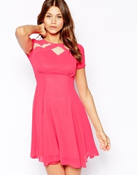 Elise Ryan Skater Tea Dress With Mesh Inserts Pink