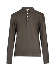 Massimo Alba Long Sleeved Cotton And Cashmere Blend Polo Shirt Grey