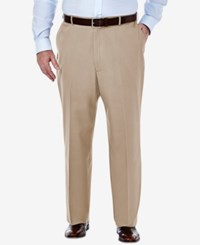 Haggar Men's Big And Tall Classic Fit Premium Non Iron Comfort Waist Pants Sand