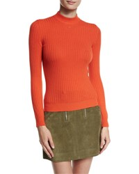 Courreges Ribbed Mock Neck Sweater Red