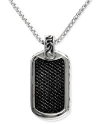 Effy Collection Gento By Effy Men's Black Sapphire Id Tag Pendant 1 3 4 Ct. T.W. In Sterling Silver