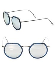 Kyme Omar 44Mm Modified Round Sunglasses Silver
