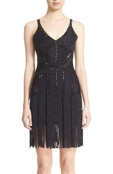 Women's Herve Leger Fringe Trim Beaded Bandage Dress