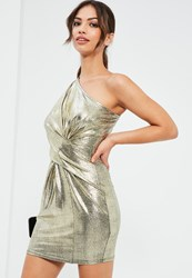 Missguided Gold Foiled One Shoulder Bodycon Dress