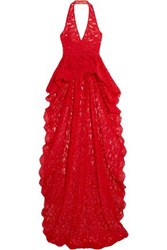 Reem Acra Corded Lace Halterneck Top Red