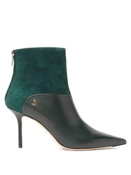 Jimmy Choo Beyla 85 Leather And Suede Ankle Boots Dark Green