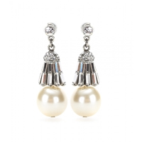 Ben Amun Crystal And Glass Pearl Earrings Clear Crystal
