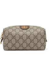 Gucci Ophidia Medium Textured Leather Trimmed Printed Coated Canvas Cosmetics Case Beige