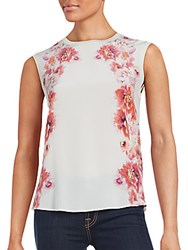 Magaschoni Floral Print Silk Blend Top White