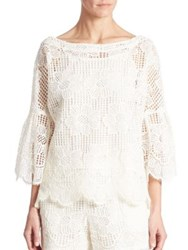 Trina Turk September Bell Sleeve Lace Top White Wash