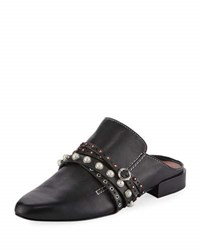 3.1 Phillip Lim Louie Strappy Leather Mule Flat Black