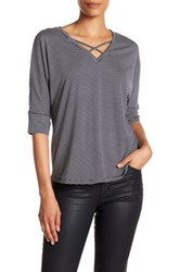 Gibson Striped Criss Cross Shirt Gray