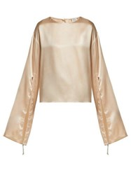 Hillier Bartley Gathered Sleeve Silk Blouse Ivory