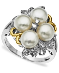 Macy's 14K Gold And Sterling Silver Ring Cultured Freshwater Pearl And Diamond Accent Leaf