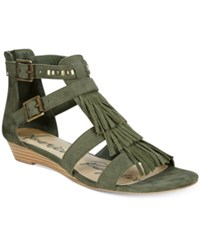 American Rag Leah Demi Wedge Fringe Gladiator Sandals Only At Macy's Women's Shoes Olive