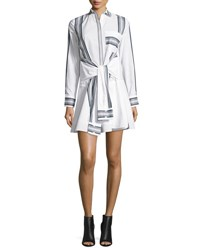 Derek Lam Long Sleeve Poplin Tie Waist Shirtdress Soft White