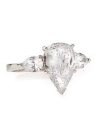 Fantasia Cz Pear Cut Ring With Side Stones