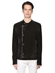 Diesel Black Gold Waxed Suede Moto Jacket