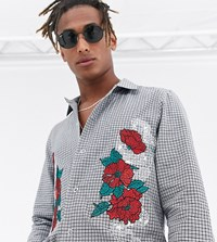 Heart And Dagger Oversized Check Shirt With Embroidery With Snaps Grey