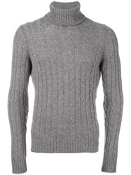 Zanone Cable Knit Turtleneck Jumper Grey