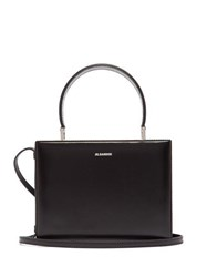 Jil Sander Case Small Leather Cross Body Bag Black