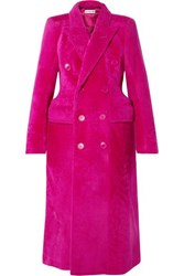 Balenciaga Hourglass Double Breasted Shearling Coat Fuchsia