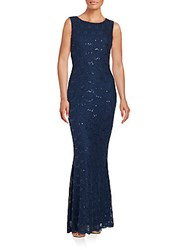 Calvin Klein Lace And Sequin Gown Navy