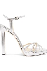 Jimmy Choo Lilah 120 Metallic Leather Platform Sandals Silver