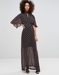 Liquorish Kimono Sleeve Maxi Dress In Ditsy Print Multi Black