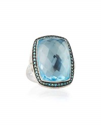 Jude Frances Provence 18K Blue Topaz And Diamond Cushion Cocktail Ring Size 6.5