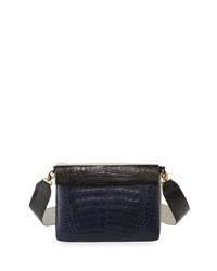 Nancy Gonzalez Small Colorblock Crocodile Clutch Bag W Strap Blue