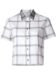 Maison Kitsune Cropped Check Shirt Nude And Neutrals