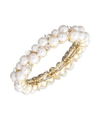Anne Klein 7 9Mm Imitation Pearl And Crystal Cuff Bracelet White
