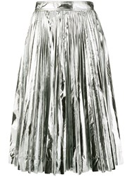 Calvin Klein 205W39nyc Metallic Pleated Skirt Silver