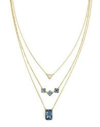 Cole Haan Aurora Sky Crystal Try Layered Necklace Blue