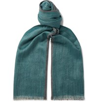 Loro Piana Fringed Cashmere And Silk Blend Scarf Green