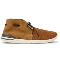 Visvim Huron Leather Trimmed Mesh And Suede Sneakers Brown