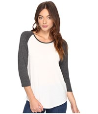 Hurley Staple Perfect Raglan Top Sail Black Heather Women's Short Sleeve Pullover White